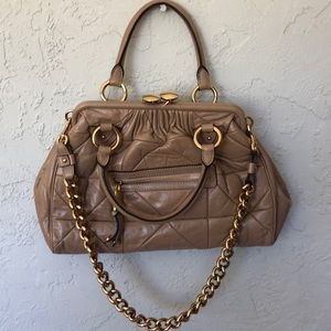 MARC JACOBS TAN LEATHER STAM BAG   Offers Invited